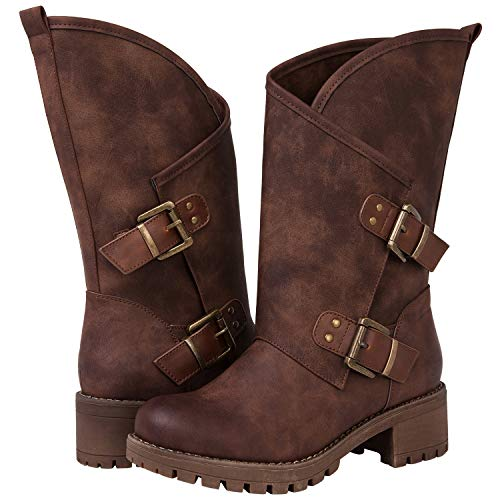 GLOBALWIN Women's The Twisted Rider Mid-Calf Brown Fashion Boots Size 8