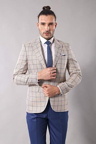 Wessi Einzelne Taste Zeigt Kragenblazer Business Suit Jacket, Visón, 52 Mens