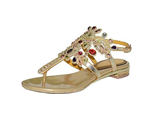 Sandalias Moda Planas con pedrería para Mujer Chanclas Suaves y cómodas para Damas Verano