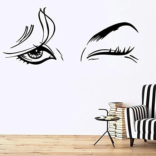 Tianpengyuanshuai Muurstickers Mooie dames Mooie Woonkamer Vrouwen Oog-Make-up Meisjes Slaapkamer Decoratie Vinyl Raam Muursticker