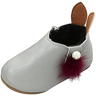Baby Booties, Toddler Newborn Baby Girls Soft Sole Rabbit Ears Boots Kids Warm Zipper Shoes (UK6, Gray):Maskedking