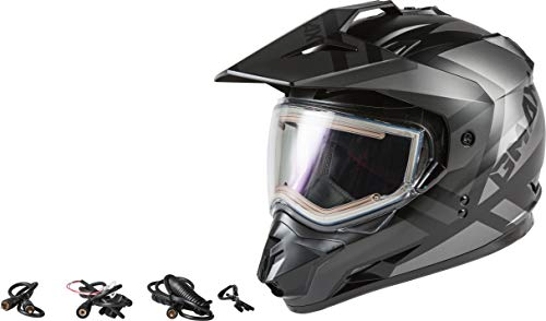 GMAX GM-11S Trapper Adult Snowmobile Helmet with Electric Shield - Matte Black/Grey/Medium