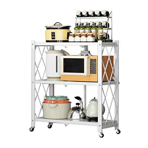 Carrito De 3 Niveles, Estante De Almacenamiento Metálico Estante Plegable De Pie, Unidad De Organizador Movible Duradero Para Lavandería Cuarto De Baño Cocina Despensa(Size:71×39×87cm,Color:blanco)