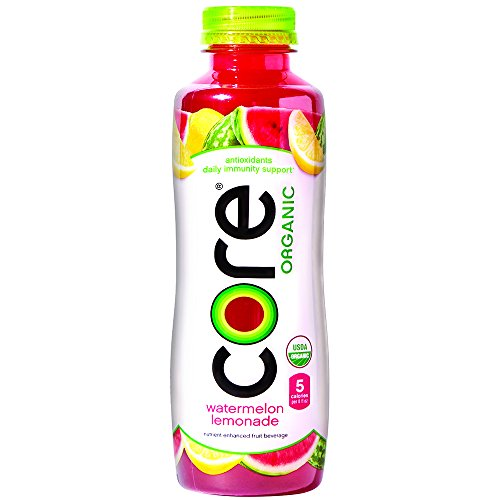 CORE Organic, Watermelon Lemonade, 18 Fl Oz (Pack of 12), Fruit Infused Beverage, Vegan/Gluten-Free, Non-GMO, Refreshing Flavored Water with Antioxidants, Great For Immunity Support