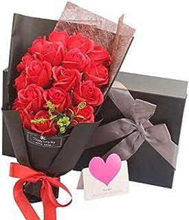 Capiner 大切な人に大切な想いを ソープフラワー 薔薇 花束 プレゼント 記念日 バラ ギフト 造花 贈り物 お祝い 誕生日 結婚 還暦 母の日 父の日 メッセージカード ショップバッグ付(18本) (レッド)