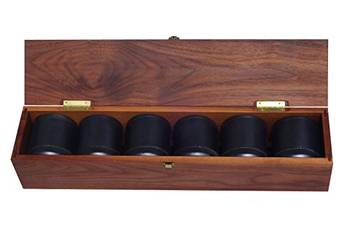 Golden Gate Dice Cup Set of Six in Walnut Presentation Case Includes Thirty White Dice and a Book of Dice Games (Includes Liar's Dice) (Dice Cup Set)