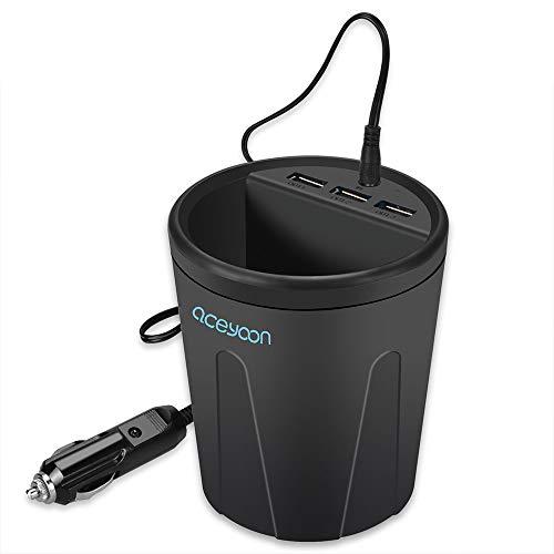 aceyoon USB Ladegerät KFZ mit Cup DC 12V / 36W USB Auto Zigarettenanzünder Verteiler Ladegerät Adapter 3 USB Port Ladestecker Aufladen Kompatibel für Huawei Galaxy Powerbank MEHRWEG
