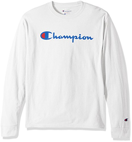 Champion LIFE Men's Cotton Long Sleeve Tee, White/Patriotic Script, Medium