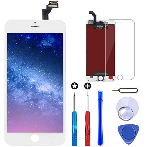 Brinonac Display per iPhone 6 Plus Schermo Bianco 5,5 Pollici LCD Touch Screen Frame Vetro Schermo Kit Smontaggio Trasformazione Completo di Ricambio Utensili Inclusi