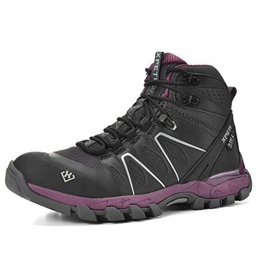 XPETI Women's Wildfire Mid Waterproof Hiking Boot Black/Purple 9