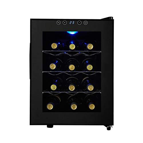 MINGDIAN Refrigerador de Vino de 12 Botellas - Refrigerador de refrigerador de Vino Tinto Blanco Refrigerador de Vino de encimera, Mini refrigerador de Vino Compacto Independiente con Control Digital