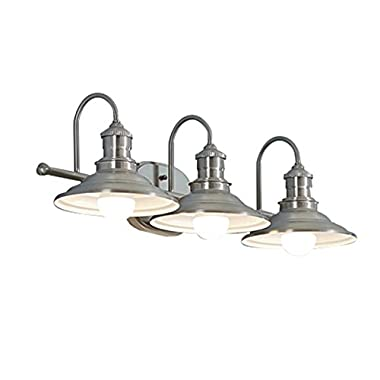 Hainsbrook 3-Light Antique Pewter Cone Vanity Light