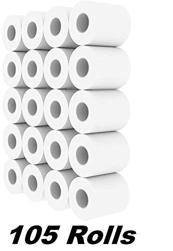 DPGPLP Roll Paper Hotel Roll Toilet Paper Hotel Roll Paper Toilet Paper Core Small Roll Paper, 2- layers, White, 105 Rolls / 70 Grams