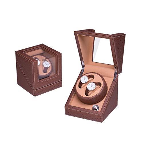 GLXLSBZ Caja automática de reloj para el hogar, para 2 relojes de pulsera de madera, resistente al agua, caja de bobinado, rotación ultra silenciosa, gira por día, tres colores