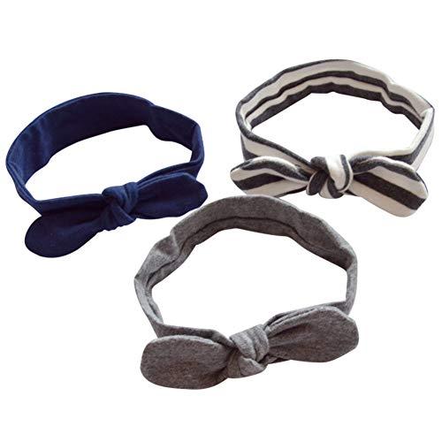 COUXILY COUXILY 3 Stück Baby Mädchen Stirnband 100% Baumwolle Haarband mit Bogen für 0-24 Monaten (B09)