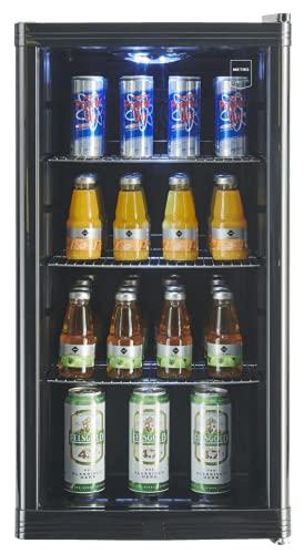 METRO Professional Getränkekühlschrank GPC1088 (88 Liter), kleiner Kühlschrank mit Glastüre, wechselbarer Türanschlag, für Gastronomie, Terrassen, Outdoor, Party mit LED Beleuchtung, schwarz