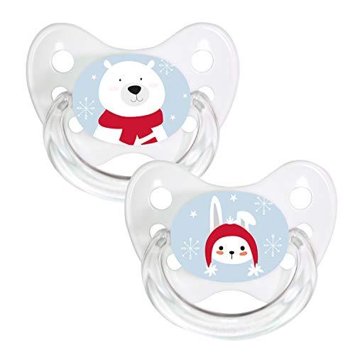 Dentistar® Silikon-Schnuller 2er Set mit Kappe - Größe 1, 0-6 Monate - Merry Christmas - zahnfreundlich und kiefergerecht - BPA frei - Polarbär + Hase