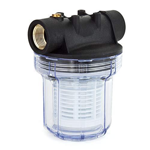 """Grafner Vorfilter für Hauswasserwerke und Gartenpumpen, mit Filtereinsatz, platzsparende Ausführung, 1"""" IG und 2x 1"""" AG Adapter, 5,5 bar, 3000 l/h, Filter Pumpe"""