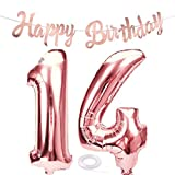 SNOWZAN Ballon gonflable pour 14e anniversaire Or rose Chiffre 14 Ballon géant en aluminium Chiffre 14 Grands chiffres 14 ans XXL 14 ans Bannière Happy Birthday Guirlande de 80 cm Chiffre 14 Pour fête