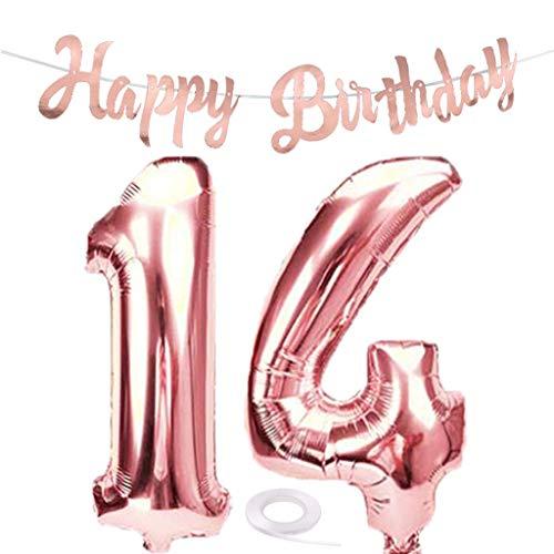 SNOWZAN Globo de 14 cumpleaños en oro rosa para niña, número 14, globos gigantes de helio, número 14, globos con números grandes de 14 años, XXL, guirnalda de 32 pulgadas, número 14, para fiesta