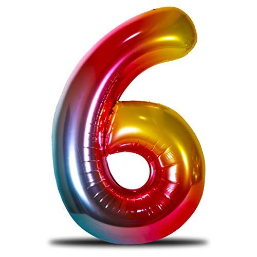 envami Luftballon Geburtstag XXL Regenbogen Rainbow - Riesen Folienballon in 40