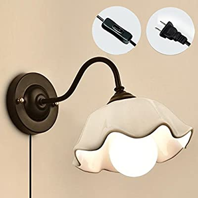 Kiven Ceramics Lampshade Wall Sconces American Country Style Wall Decoration UL Certification Plug-In Button Cord Lighting Wall Lamp For Bedroom Bulbs Not Included
