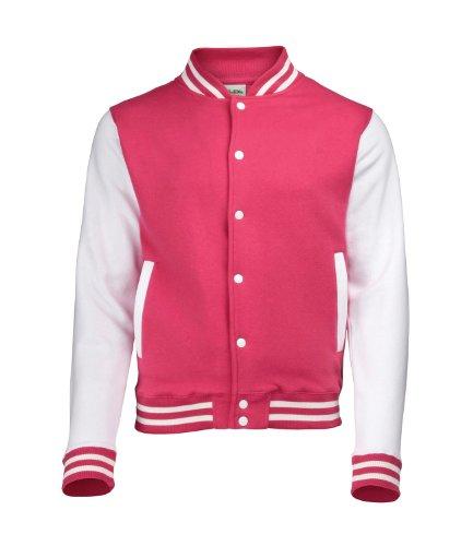 Awdis Unisex Varsity Jacket Medium Hot Pink/White