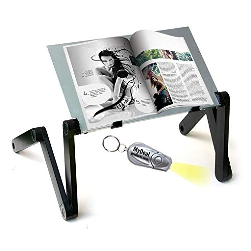 MyDeal Products QuickLIFT Book & Magazine Portable Stand with Easy Set-Up & Adjustable Height / Angle for Mounting on Desk / Bed / Couch / Floor. Includes Flashlight