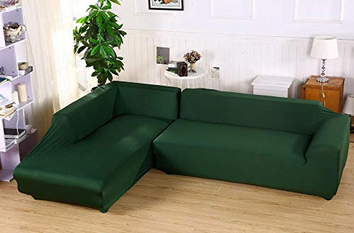 Allenger Sofa/Living Room Furniture,Einfarbige Stretch-Sofabezug, universelle rutschfeste Sofabezug für Frühling, Sommer, Herbst und Winter, Möbel staubdichter Kissenbezug-grün_235-300cm