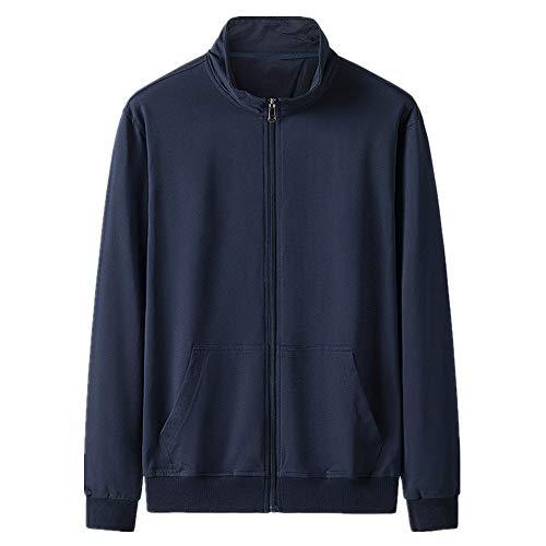Suéter de algodón puro de los hombres de la primavera y el otoño delgado stand collar cardigan ropa deportiva de los hombres sueltos abrigo de punto superior, azul, L