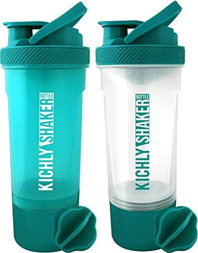 KICHLY (Set de 2) Botella shaker proteinas con batidor Blenderball clásica (700 ml) - Tapa antiderrames con Envase de almacenamiento suplementos - Perfecto para Entrenamiento (Verde azulado y Claro)