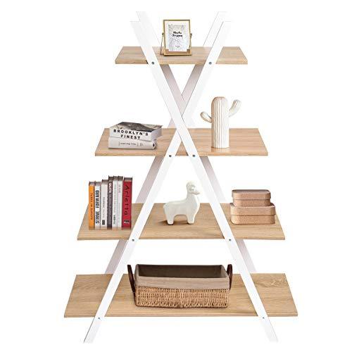 COSTWAY Estantería de Escalera de 4 Pisos Estante de Pie de Madera para Libros Plantas Decoraciones en Salón Terraza Dormitorio Estudio