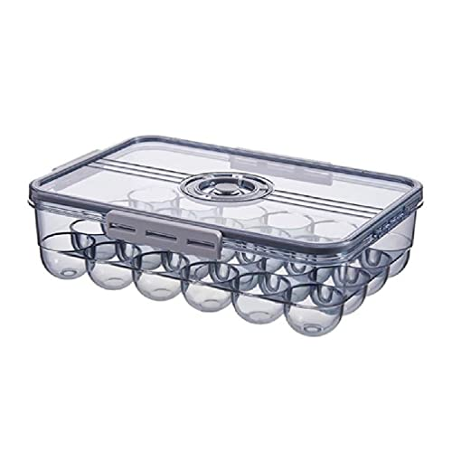 Caja de almacenamiento de plástico para frigorífico, transparente, para cocina, 24 huevos, con tapa, reutilizable, organizador de nevera, contenedor de cocina, organizador de nevera