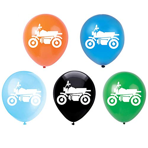 Motorcycle Latex Balloons, 12inch (15pcs) Colorful Motorcycle Themed Birthday Party Decorations Or Supplies