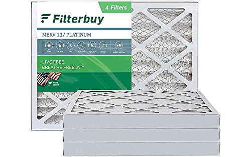 FilterBuy 16x20x2 Air Filter MERV 13, Pleated HVAC AC Furnace Filters (4-Pack, Platinum)