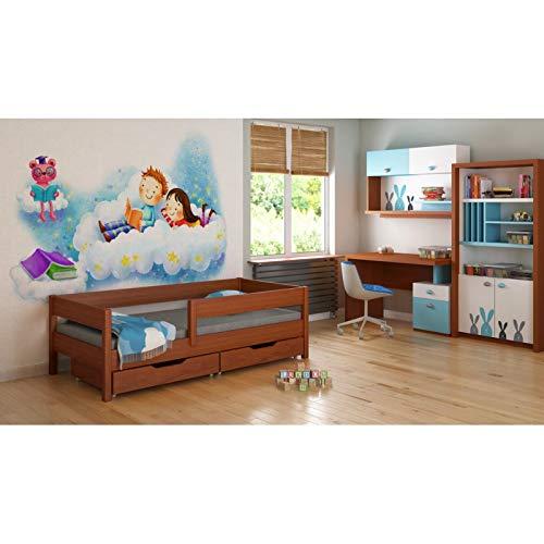 Envio 24h!!! Cama Infantil para niños Individual 140x70/160x80/180x80/180x90/200x90 sin colchón y sin cajones. (180/90, Palisandro)