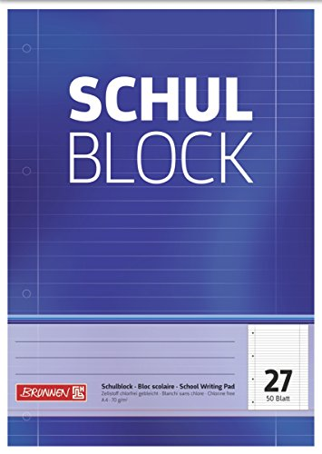 Brunnen 1052527 Schulblock / Notizblock (A4, 50 Blatt, liniert, mit Randlinien, Lineatur 27, gelocht, kopfverleimt, 70 g/m²)