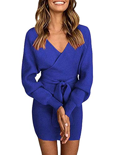 Pulloverkleid Damen Kleider Elegant Strickkleid V-Ausschnitt Langarm Tunika Kleid Minikleid Mit Gürtel (Dunkelblau, M)