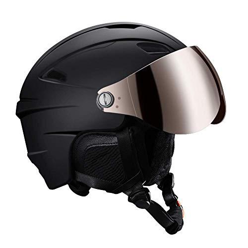 Skihelm Snowboard Helm Unisex Ski Helmet mit Visier Erwachsene Skihelm Herren Damen mit Visor 12 Lüftungsöffnungen CE EN 1077 schwarz