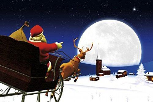 1art1 Weihnachten - Der Weihnachtsmann Kommt Mit Seinem Rentier-Schlitten Selbstklebende Fototapete Poster-Tapete 180 x 120 cm