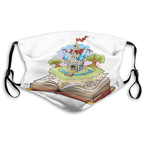Fashion 3D Face_ ma-s-k_ Protect Printed face and mouth protection Surreal Magic World in Fantasy Book Fairy Tale Style Castle Illustration s