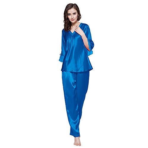LilySilk 22 Momme 100% Seiden Nachthemd Nachtwäsche Spitze Maulbeerseiden (XS, Saphirblau)