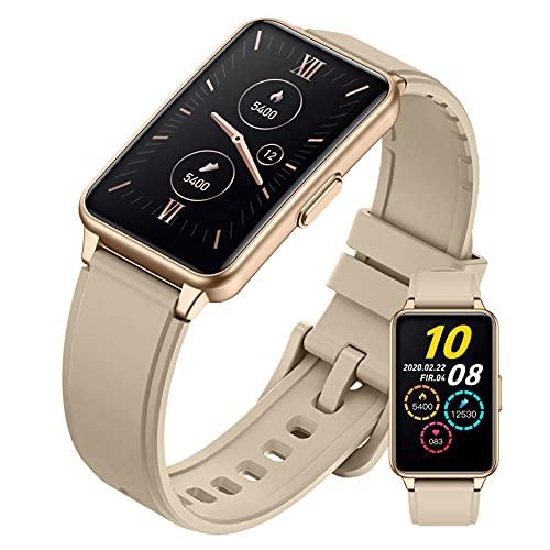 HQPCAHL Smartwatch, 1.57' Táctil Completa Reloj Inteligente Hombre Mujer con Monitor De Sueño, Pulsómetro, Cronómetro, Podómetro Impermeable IP67 Pulsera Actividad Inteligente para Android iOS,Oro