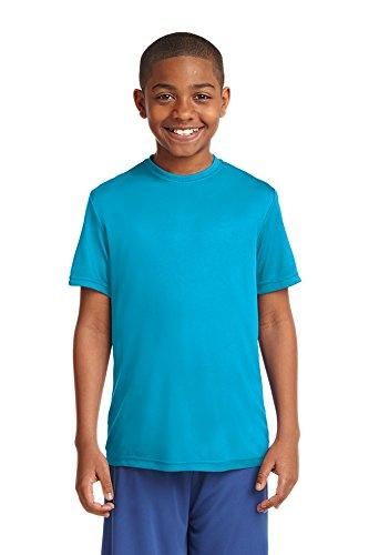Dri-Wick Jugend Sport Performance Feuchtigkeitstransport Athletic T-Shirt - Blau - XS