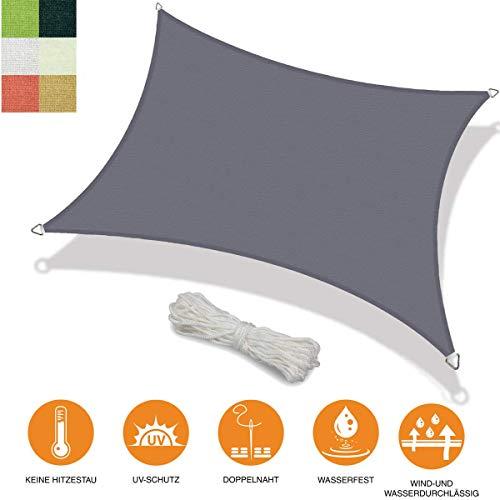 bonsport Marken Sonnensegel Sonnenschutz Rechteck rechteckig viereckick 6x8 m Graphit