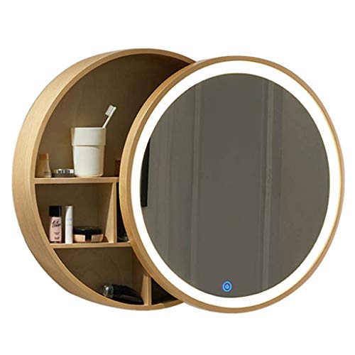 Xing Hua home Wand-Spiegel Bad Spiegelschrank Badezimmerspiegel mit Regal Schrank Wand-Make-up Eitelkeit runden Spiegel (70cm, Black) (60cm, Wood Color with Light)