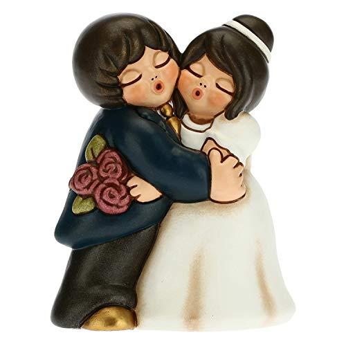 THUN - Bomboniera Coppia di Sposini Abbracciati con Bouquet - Bomboniere Matrimonio - Linea Bomboniere - Formato Grande - Ceramica - 7,7 x 5,7 x 10,2 h cm