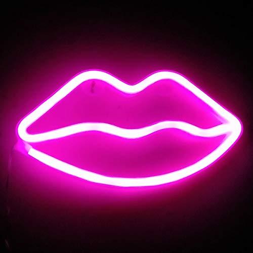 XIYUNTE labbro neon Insegne luminose Luci notturne Rosa lip neon light Batteria e USB motorizzato Illuminazione per interni labbro Mood Lights per bambini, cameretta, natalizie