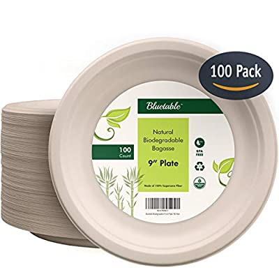 Compostable Plates 9 Inch Biodegradable Paper Plates - Made from 100% Sugarcane - Disposable Eco Friendly bagasse Plates - Natural Earth Friendly Recycled Plates Non Plastic - by Bluetable [100 Pack]