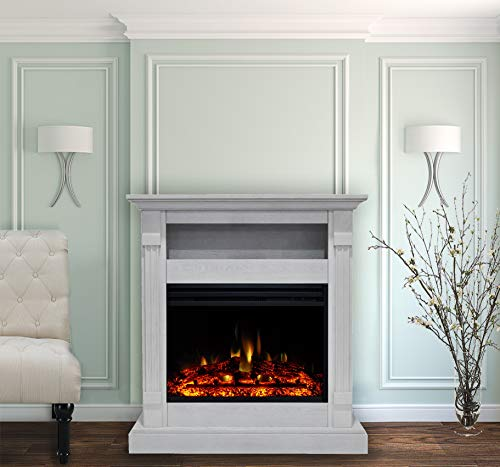 CAMBRIDGE Sienna 34 Heater with White Mantel, Enhanced Log Display, Multi-Color Flames, and Remote Control, CAM3437-1WHTLG3 Electric Fireplace